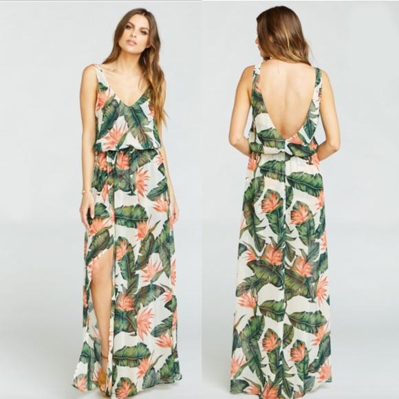 Hawaiian Tropical Maxi Dress Bridesmaid